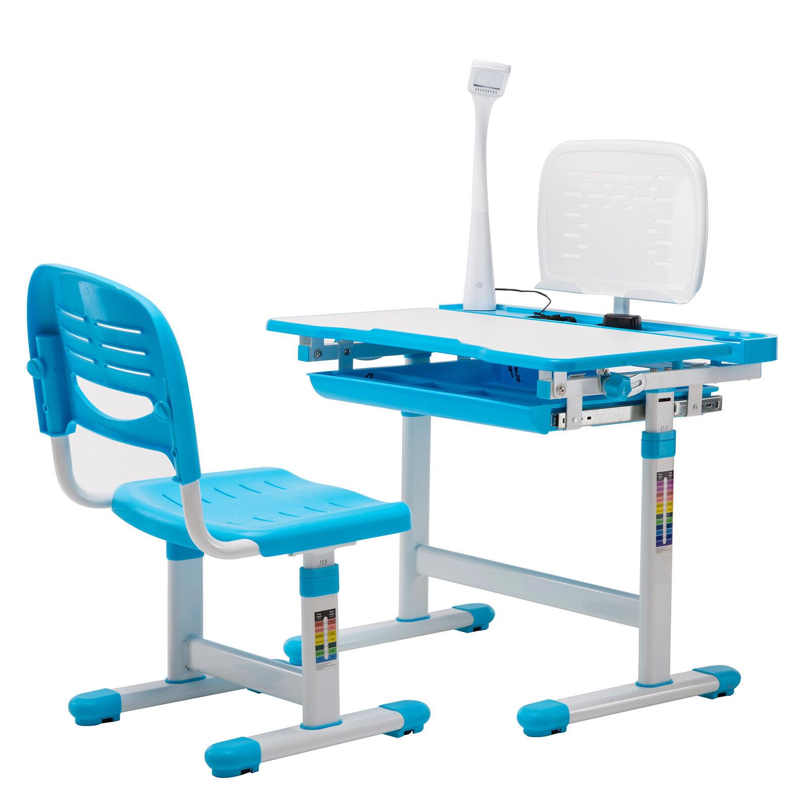 Details About Blue Adjustable Children S Study Desk Chair Set Child Kids Table W Desk Led Lamp