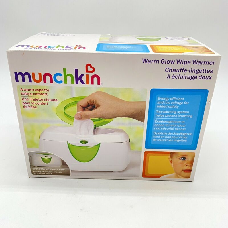 Munchkin Electric Warm Glow Wipe Warmer Container Green White For Counter Top