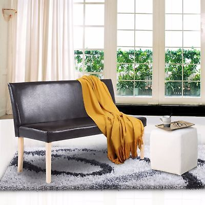 Cushioned Bench with Back Wood Plan Living Room Sofa Couch Faux Leather Brown