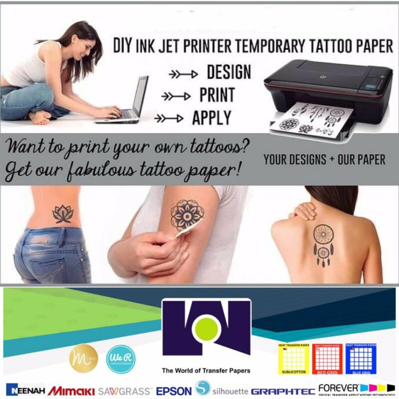 5 sheets Temporary Tattoo Tatoo Transfer Decal Paper INKJET Printer Only 8.5x11