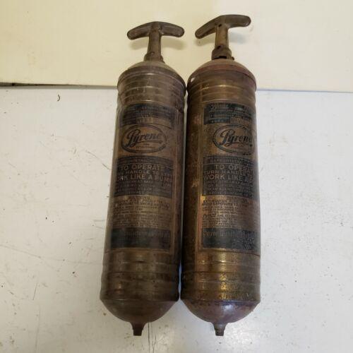 2 Vintage Brass Pyrene Pump Heavy Duty Fire Extinguishers EMPTY B2 C2 DENTED