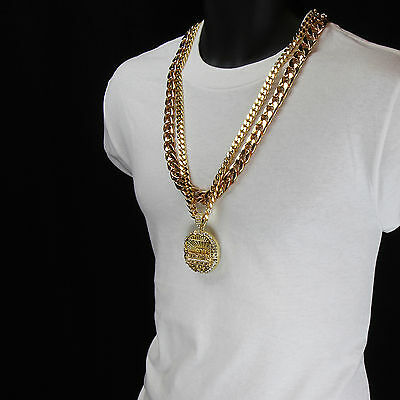 Men Iced Out Hip Hop 14K Gold Plated Last Supper Cz Pendant Two 30  Cuban Chain