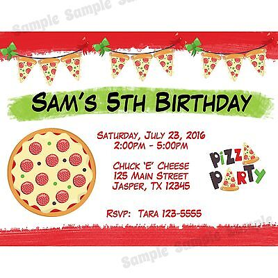20 Personalized Birthday Invitations -  Pizza Party