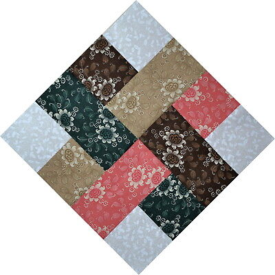 """QUILT BLOCKS-Woven Ribbons-Gold, Brown, Coral, Green & White on White, 12"""" Sq."""