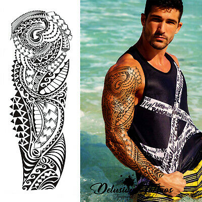Tribal Tattoo Sleeves (Polynesian Temporary Tattoo Sleeve Tribal Arm Waterproof Transfers Halloween)