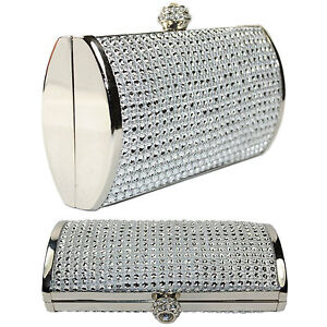 New Silver Diamante Sparkly Crystal Wedding Prom Party Evening Clutch Bag Purse