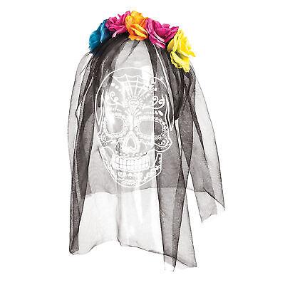 Adultos Día de los Muertos Diadema Tocado Novia Black Veil Rosas Flores...