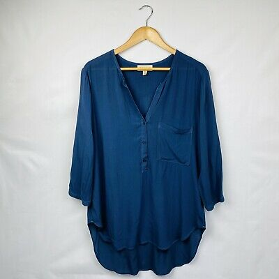 Anthropologie Cloth and Stone Women's High Low Blouse Blue Size Medium