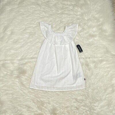 NEW Nautica Girls Dress Size 5 White Eyelet Summer Fully Lined Cotton Spring