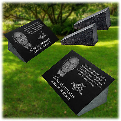 GRABPLATTE Grabmal Grabstein 039s mit Granit Stütze ►Ihr Foto + Text ◄ 30 x 20cm