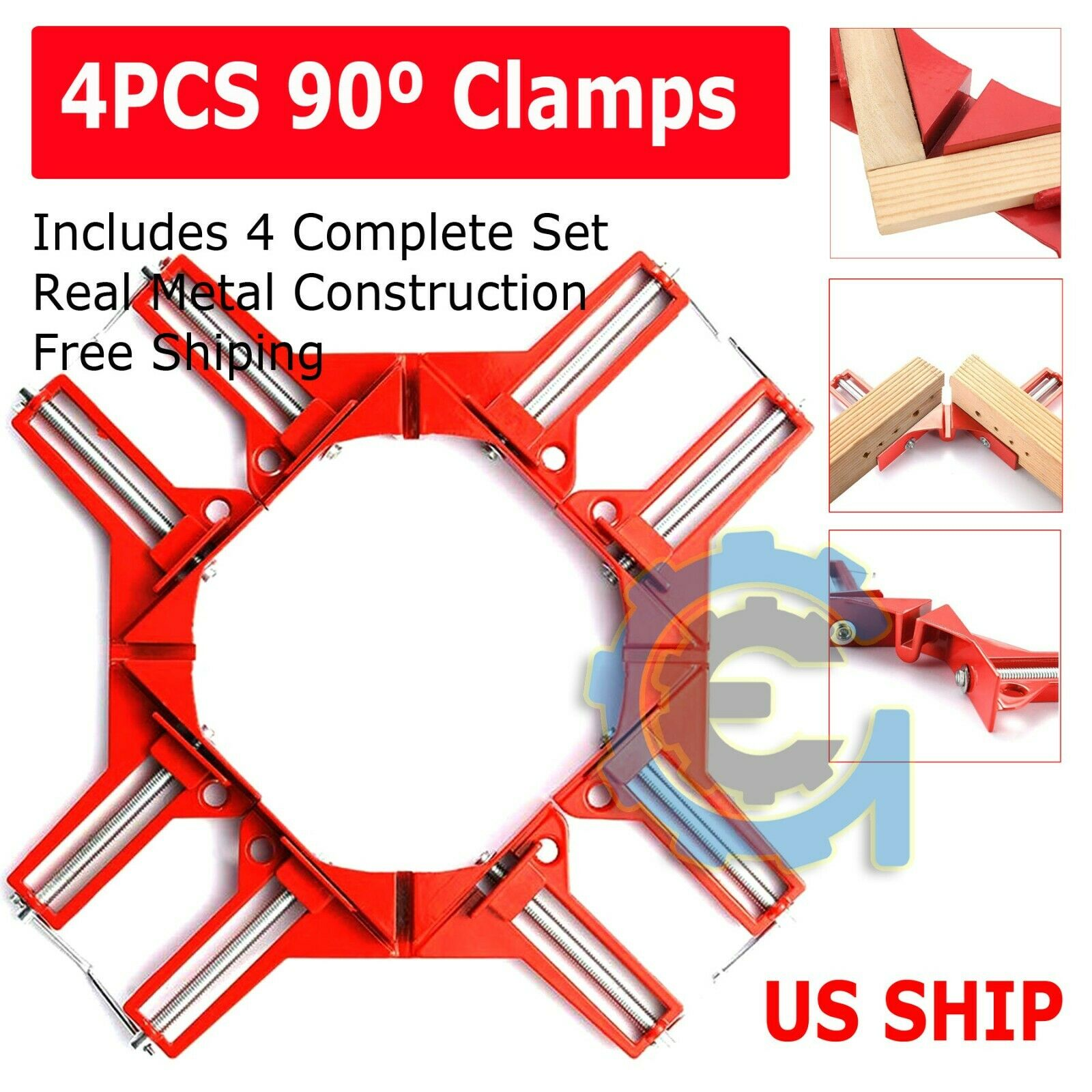4X Metal Set DIY 90° Right Angle Clip Clamps Corner Holder