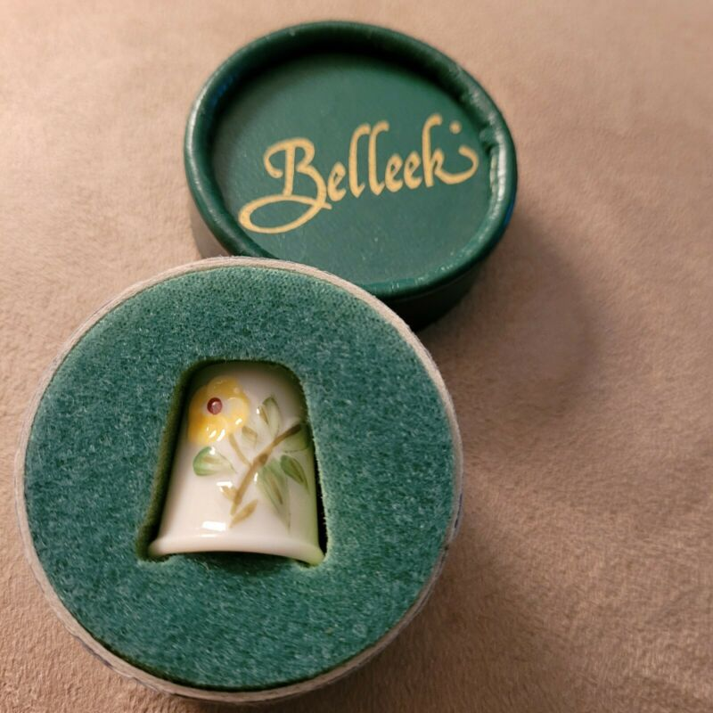 THIMBLE YELLOW FLOWERS by BELLEEK new in box made in Ireland Yellow Mark