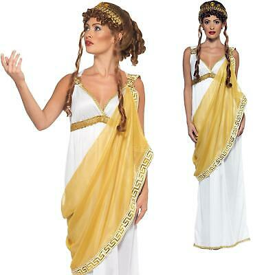 Adults Ladies Helen Of Troy Ancient Greek Toga Fancy Dress Costume Goddess Tiara