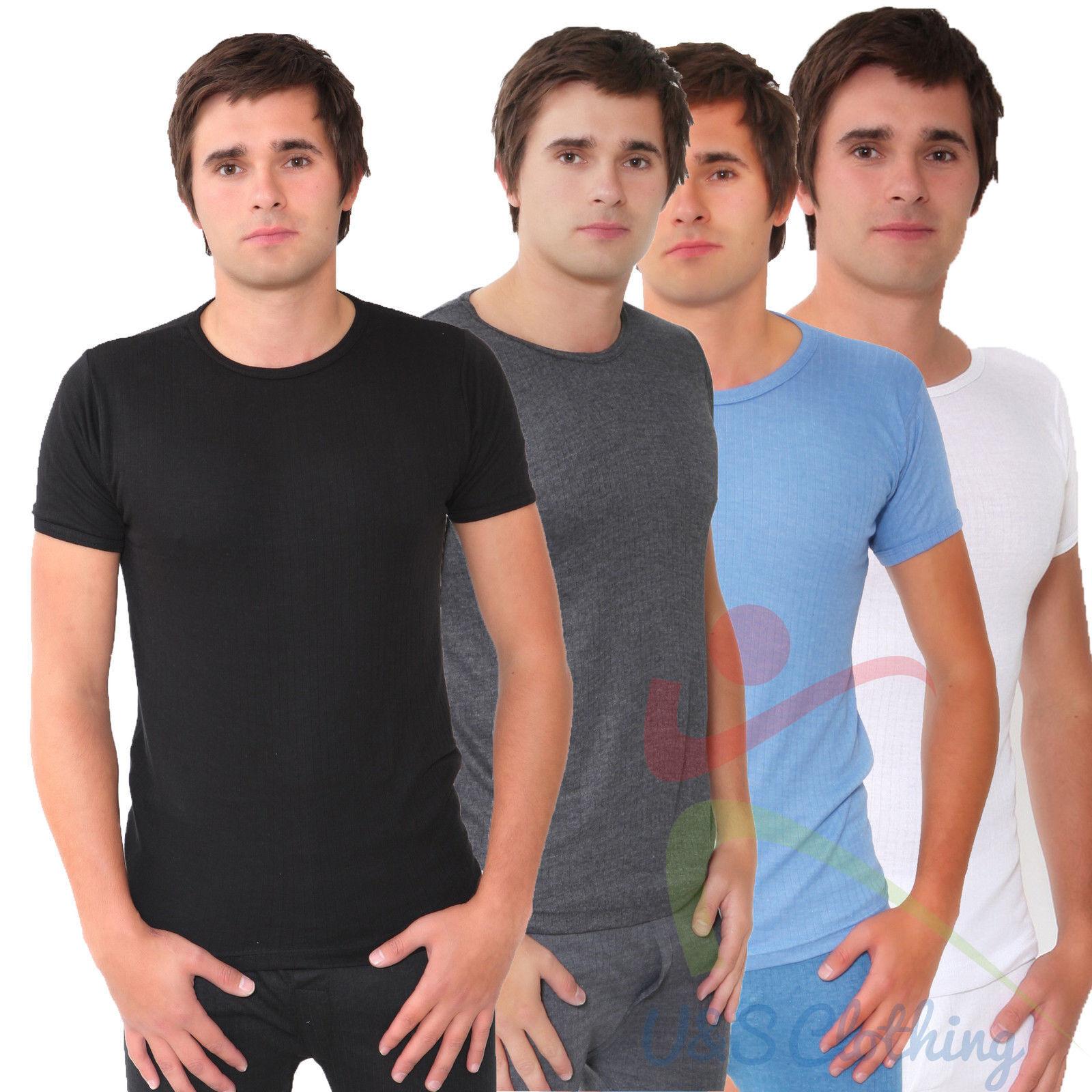 Mens Short Sleeve Vest Heat Trap Thermal Brushed Underwear T Shirt S M L XL XXL