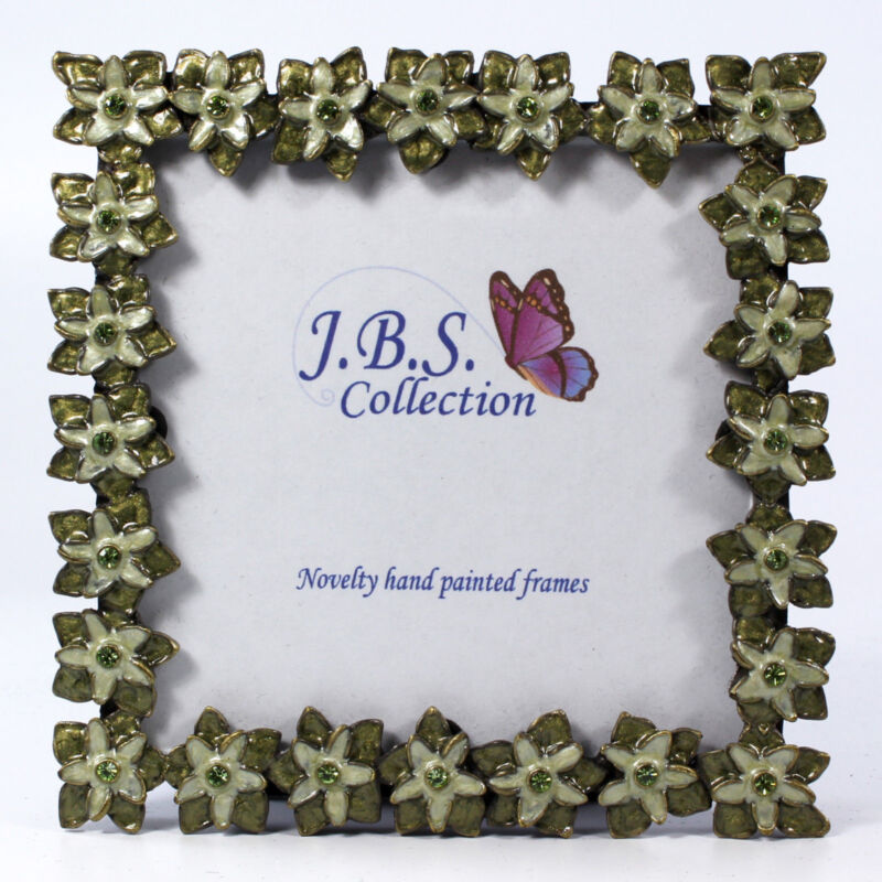 Bejeweled Floral Pattern Photo Frame, Enamel Painted With Crystals In Green 3x3