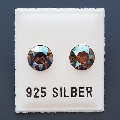 NEU 925 Silber OHRSTECKER 8mm SWAROVSKI STEINE iridescent green/grün OHRRINGE
