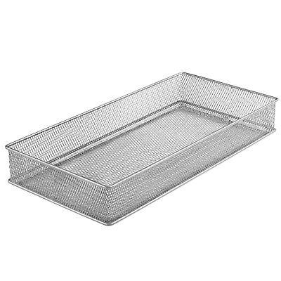 Silver Mesh Drawer Organizer Bin Office Desktop Organizer Basket 6 X 12 1591