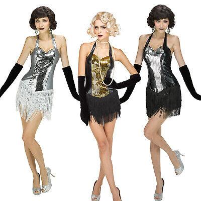 Damen sexy Perlen Gatsby Fransen-Kleid Flapper Kleid Tanzkleid GoGo - Damen Sexy Flapper Kostüm
