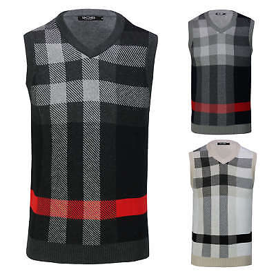 Mens Sleeveless Jumper V Neck Sweater Smart Casual Slim Fit Tank Top Jersey Vest