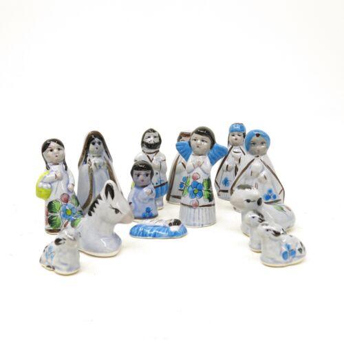 Vtg Hand painted Mexican Tonala Folk Art Pottery Nativity Scene Creche 14 PCS