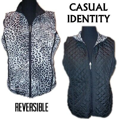 Casual Identity Womens Size Large Snow Leopard Print Quilted Vest Black Gray