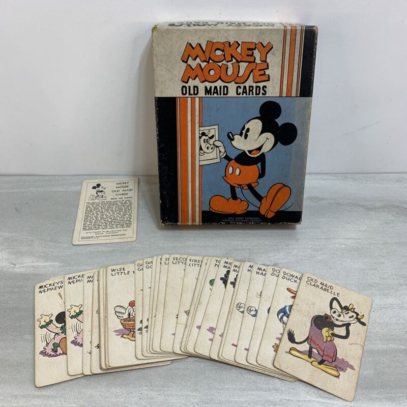 Rare Vintage Walt Disney Mickey Mouse Old Maid Cards with Box, 35 Cards 1930