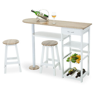 Oak White Kitchen Island Cart Trolley Dining Table Storage 2 Bar Stools & Drawer