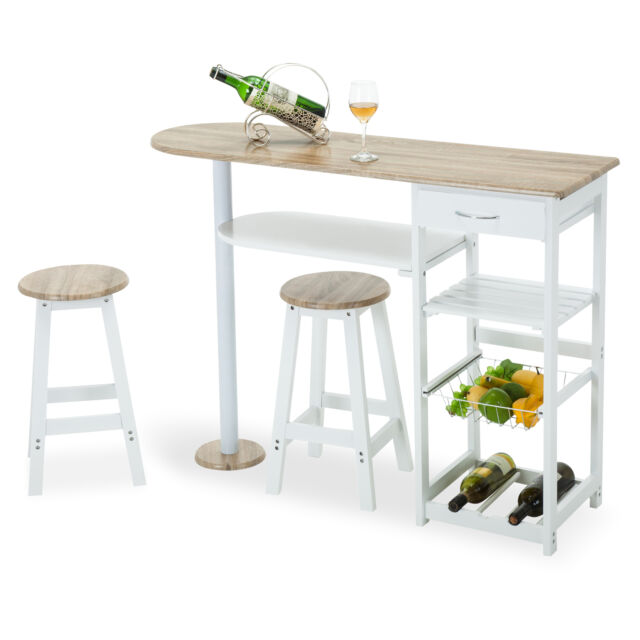 Kitchen Island Cart With Stools oak white kitchen island cart trolley dining table storage 2 bar
