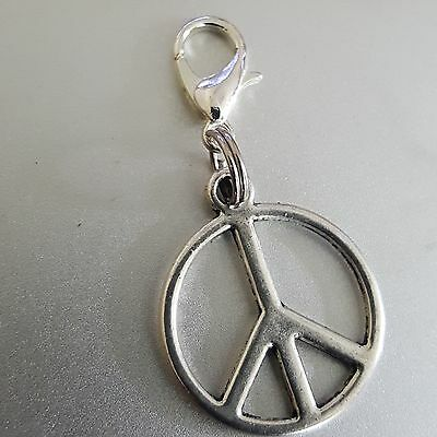 Peace Sign Symbol Medallion Silver Round Dangle Clip Charm pendant  bhumi 1""