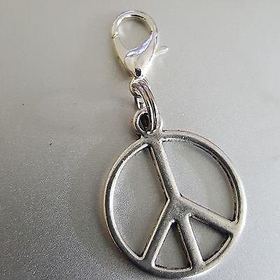 "Peace Sign Symbol Medallion Silver Round Dangle Clip Charm pendant  bhumi 1"""