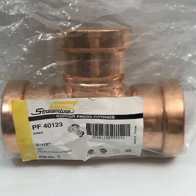 Streamline Pf 40123 Copper Press Fittings Tee 2-
