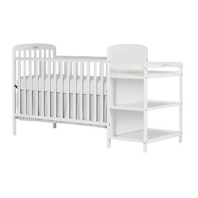 Dream On Me, Anna 4 in 1 Full Size Crib and Changing Table Combo White