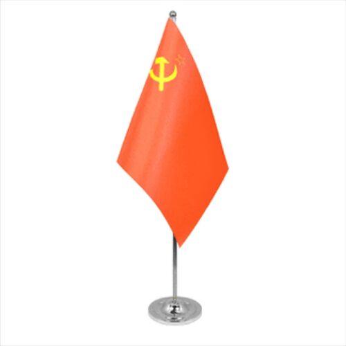 USSR Soviet Union Russia Satin & Chrome Premium Table Flag