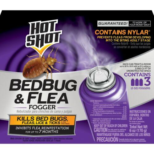 Bed Bug Killer Hot Shot & Flea Insect Fogger 95911 AC1688 3 Sprays Trap Bomb