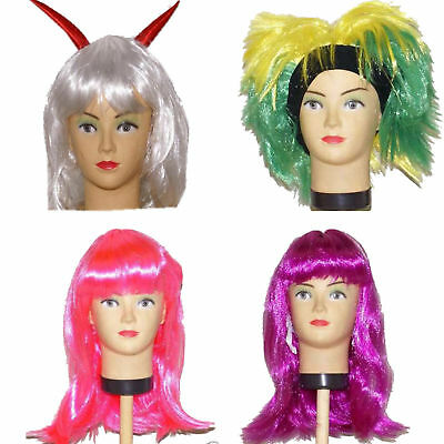 Kinder Damen Perücke Fasching Karneval pink weiß Punk Emo Cosplay Teufel