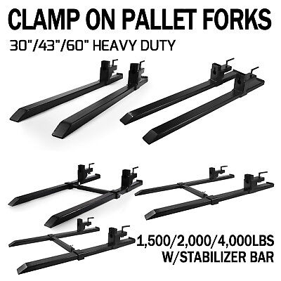 """30''-43''-60"""" HD Clamp On Pallet Forks 4,000 lb Capacity w/ Stabilizer Bar"""