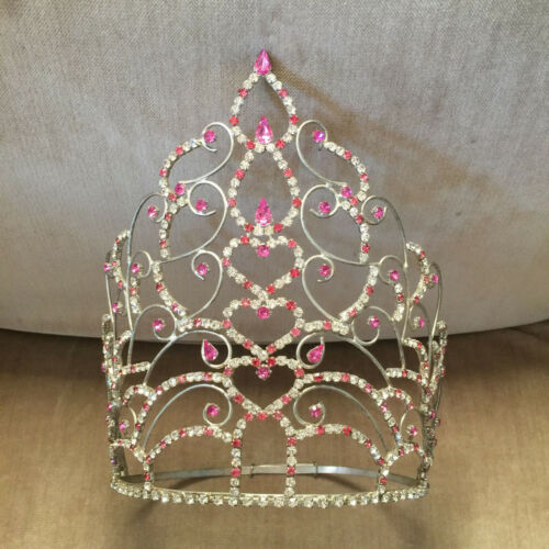 "Vintage Child Beauty Pageant Crown Tiara Pink 8.25"" Tall"