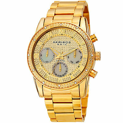 Men's Akribos XXIV AK1040YG Chronograph Diamond Gold Stainless Steel Watch