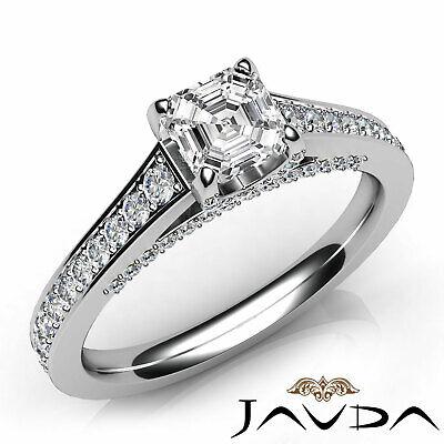Bridge Accent Pave Asscher Diamond Engagement Cathedral Ring GIA H VVS2 1.25Ct