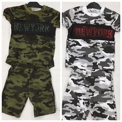Jungen Freizeit Sport Camouflage  Set Shorts+Shirt Anzug  Tarnanzug - Jungen Anzug Set