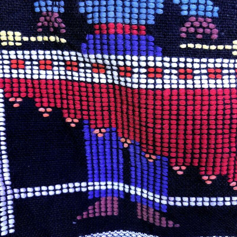 Native South American Hand Loomed Blanket Purple Vintage