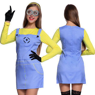 Womens Despicable Me Costume Female Minion Outfit Hen Night Fancy Dress](Minion Costume Womens)
