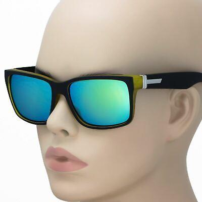 Large Men Matte Square Retro Sunglasses Black Frame Color Mirror Lens 150mm (Large Retro Mirror)