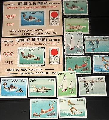 PANAMA 1964 734 45 BLOCK 21 22 454 54F OLYMPICS TOKYO WATER POLO WASSERBALL MNH