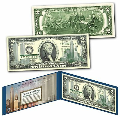 WORLD TRADE CENTER 9/11 * 10th Anniversary * $2 US Bill GRN - SPECIAL LOW PRICE