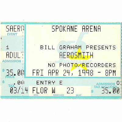 AEROSMITH & SPACEHOG Concert Ticket Stub SPOKANE WASHINGTON 4/24/98 NINE LIVES