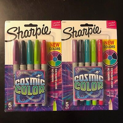 Lot Of 2- Sharpie Cosmic Color Classic Fine Ultra Fine 5 Pack Each 10 Total