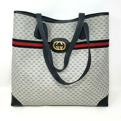Vintage Gucci Micro GG Ophidia Web Stripe Navy Canvas Leather Tote Hand Bag Auth