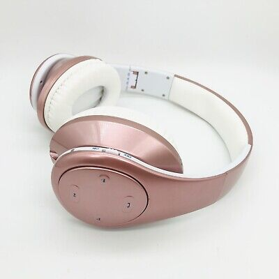 Wireless Wired Bluetooth V5.0 Headphones Girls Over Ear Headset w/ Mic Rose Gold