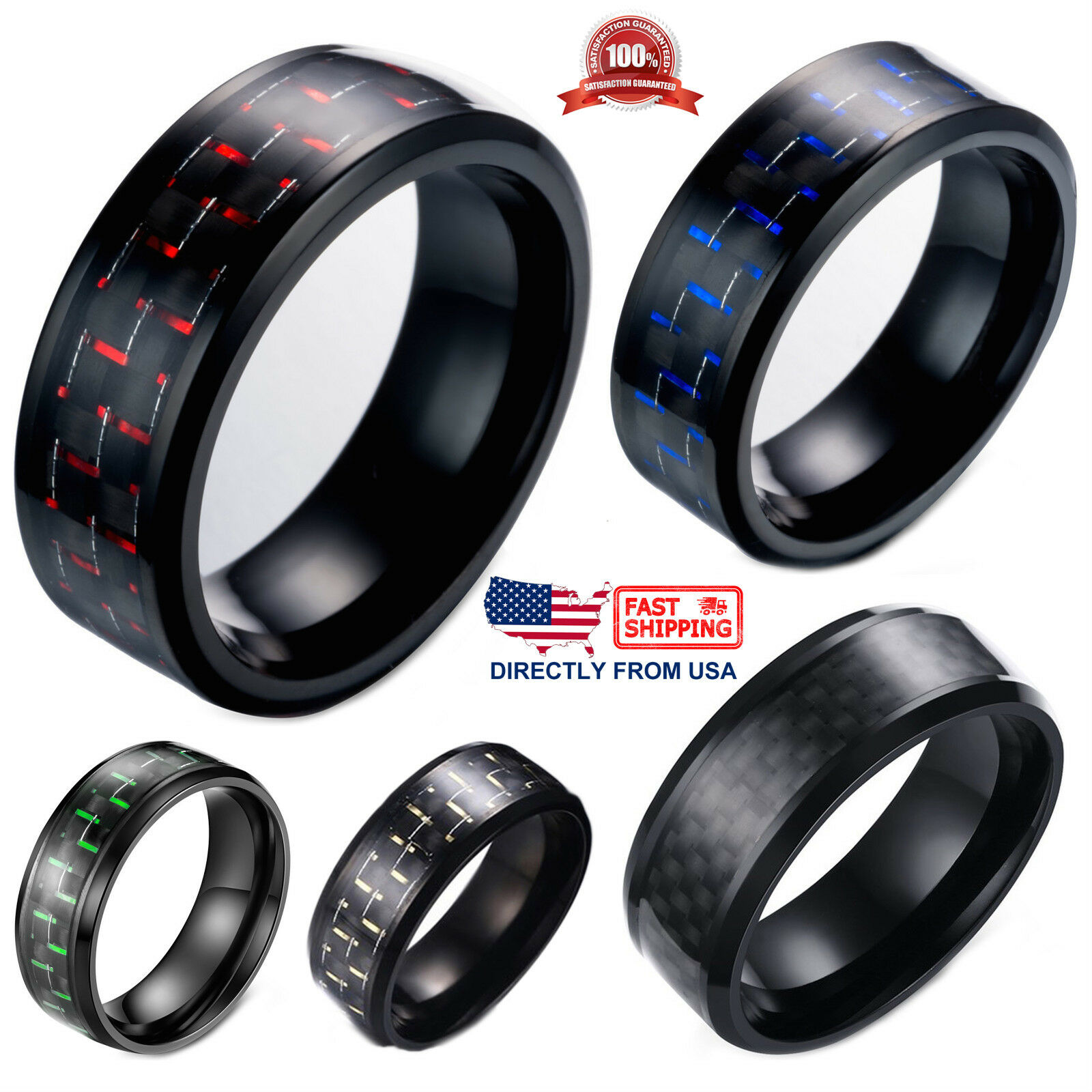 Men's Ring Stainless Steel and Carbon Fiber 8mm Wedding Band, Comfort Fit Jewelry & Watches